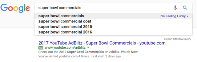 super bowl google search