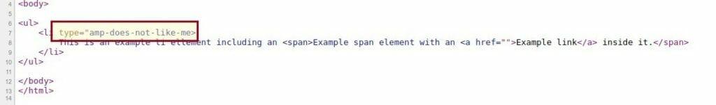 HTML AMP Example