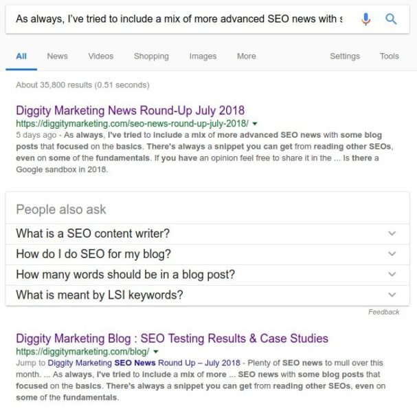 Content search - Google results