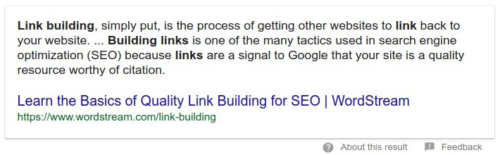 Link Building Answer Box