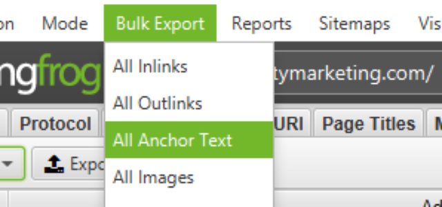 Bulk Export all Anchor Text function