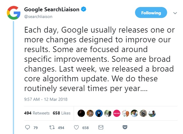 Twitter - Google Algo Changes Happen Every Day