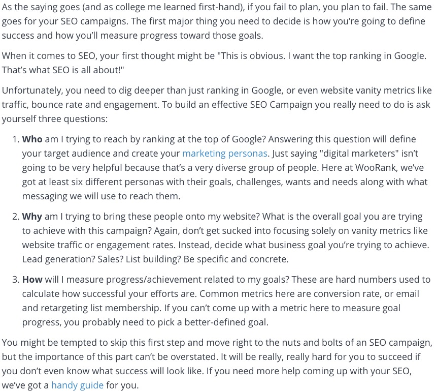 goals and strategy for seo campaigns