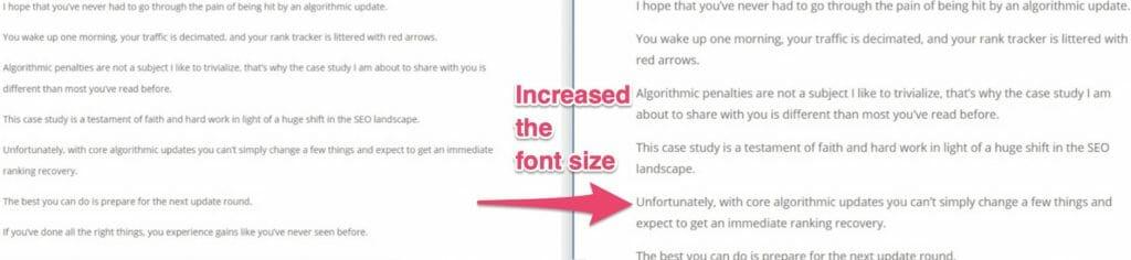 Mobile Optimization incerease font size