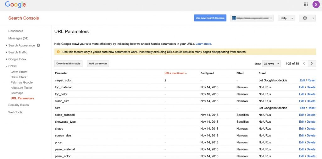 Search Console URL parameters sample