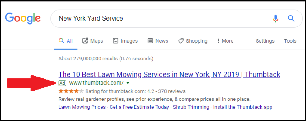 paid listing google