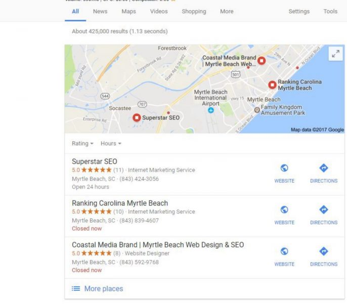 Local SEO Business listings screenshot