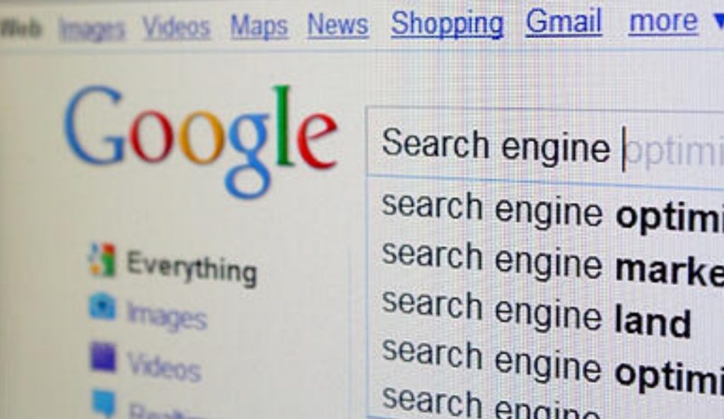google search engine snapshot on a computer or laptop