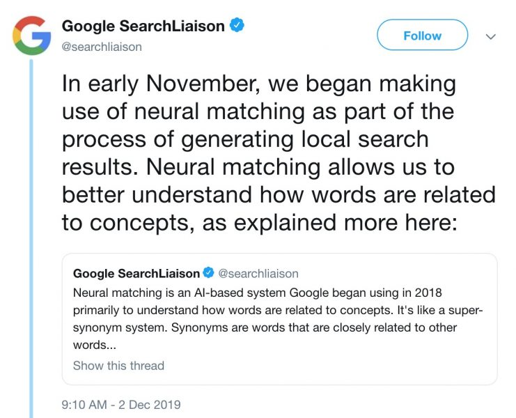 google tweets regarding AI Neural Matching
