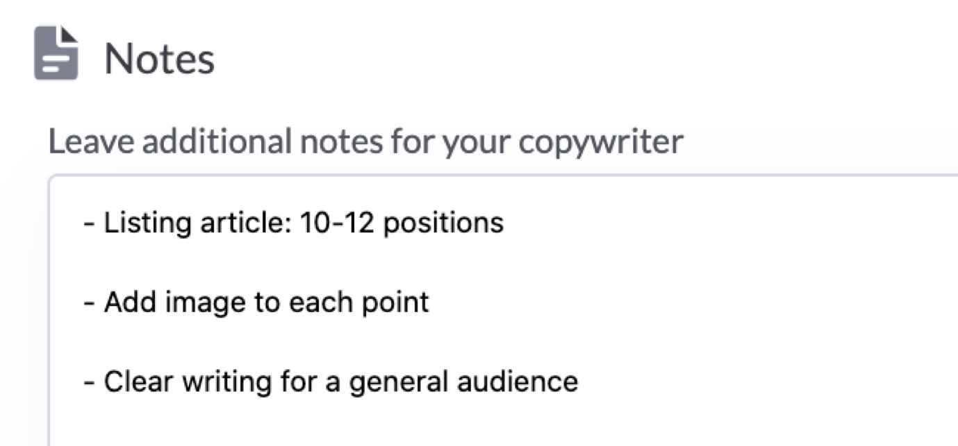 content editor notes