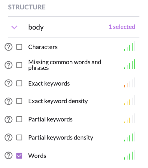 keyword structure guide tab