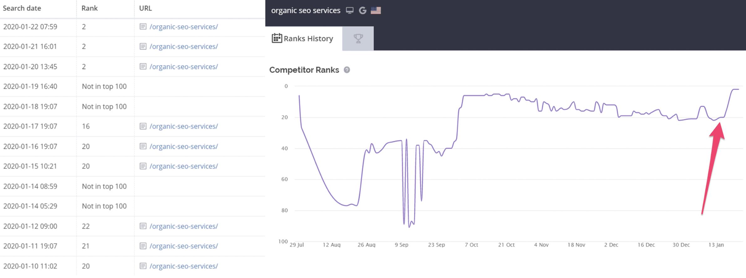 organic seo page performance