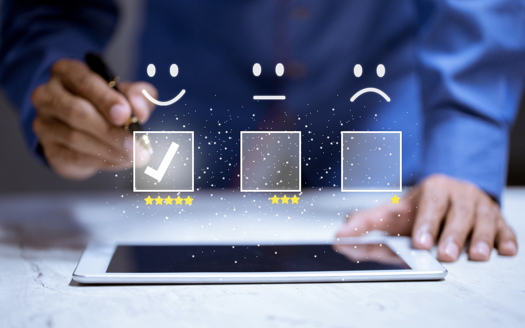 customer product or service feedback on tablet