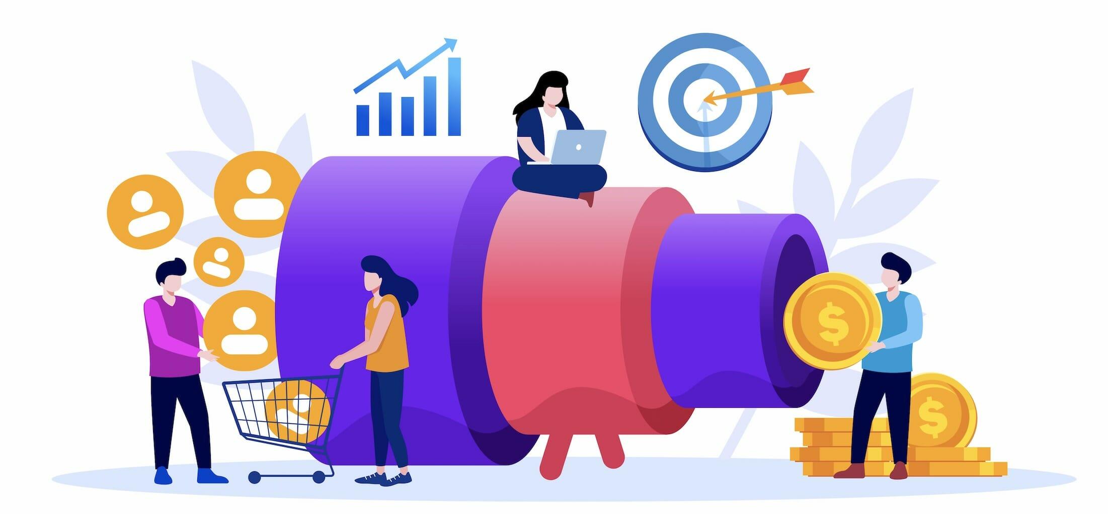 sales funnel marketing illustration