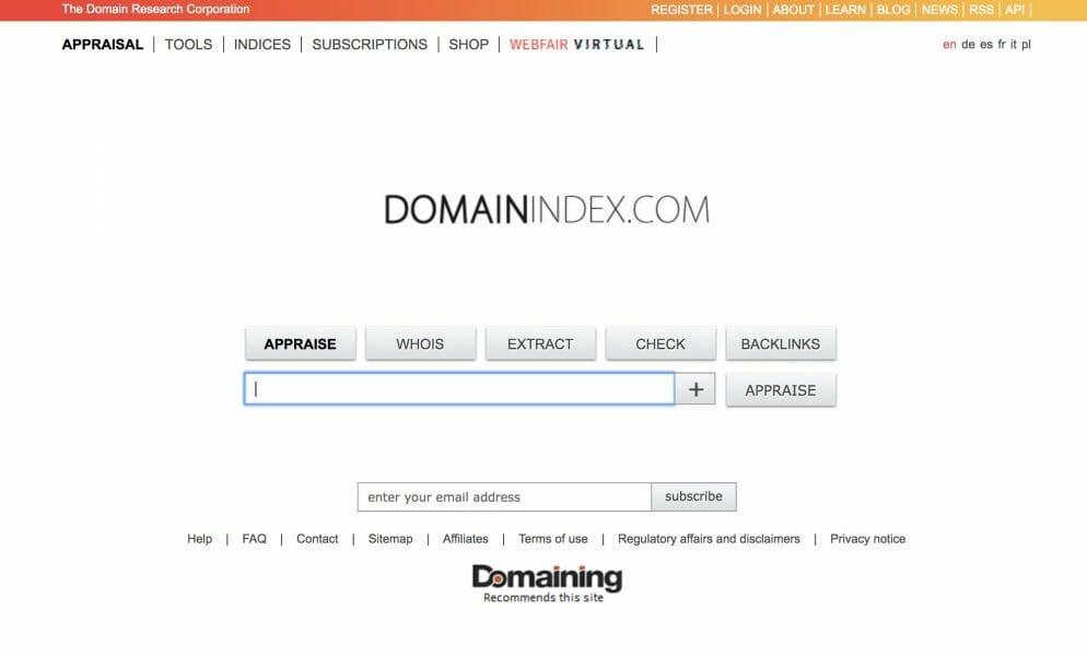 domainindex website