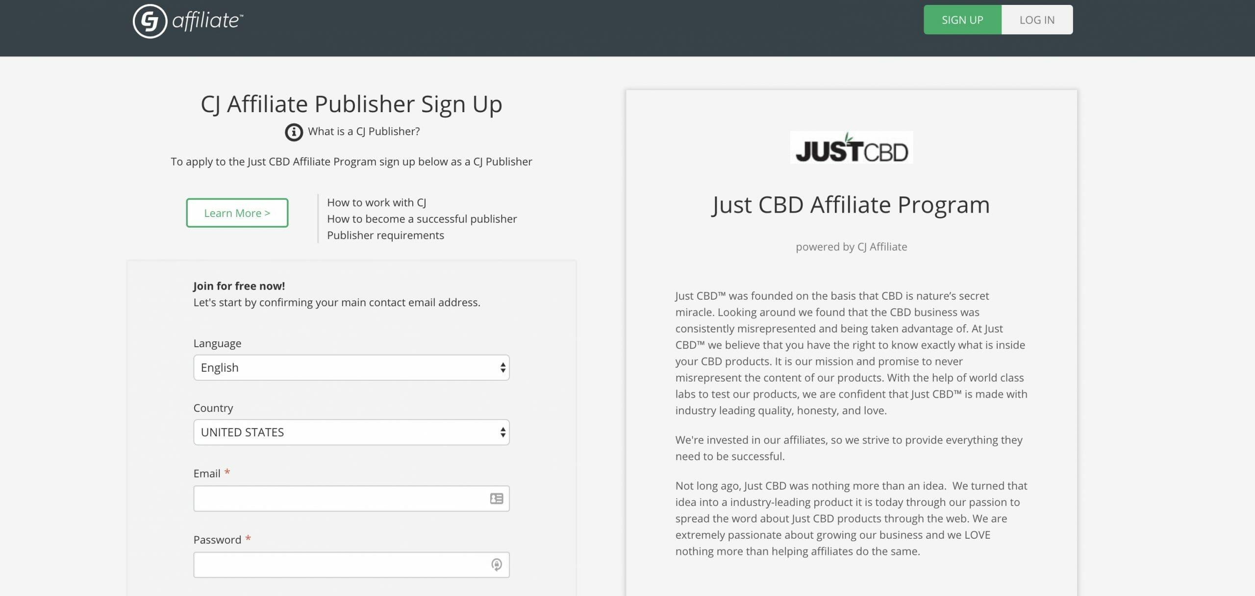 JustCBD Affiliate Program