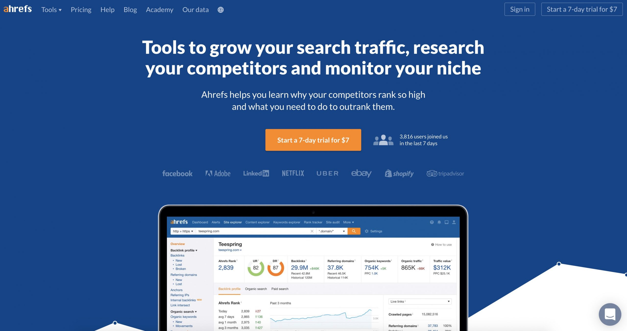 ahrefs homepage screenshot wide