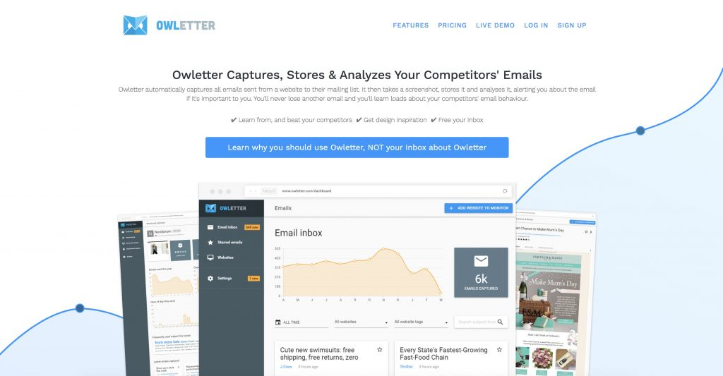 owl letter homepage snapshot