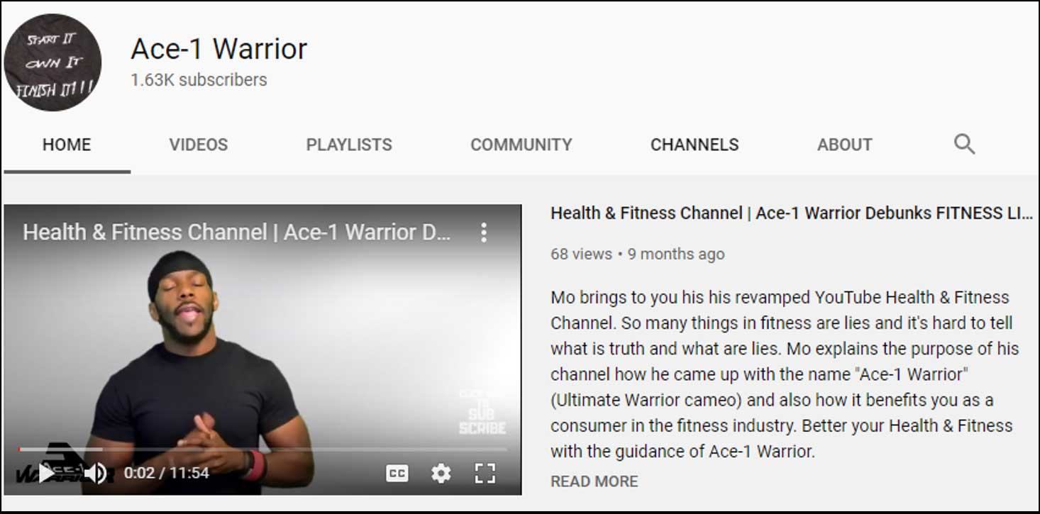 Ace 1 Warrior youtube page