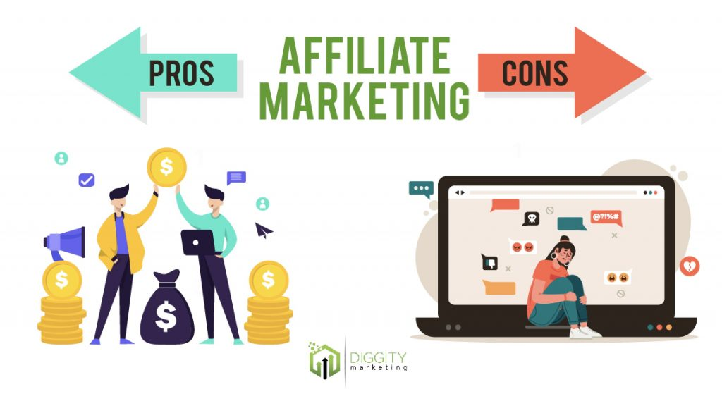 Affiliate marketing pros and cons illustration