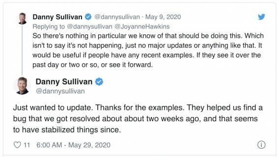 Danny Sulivan Tweet on may 2020 update bgs