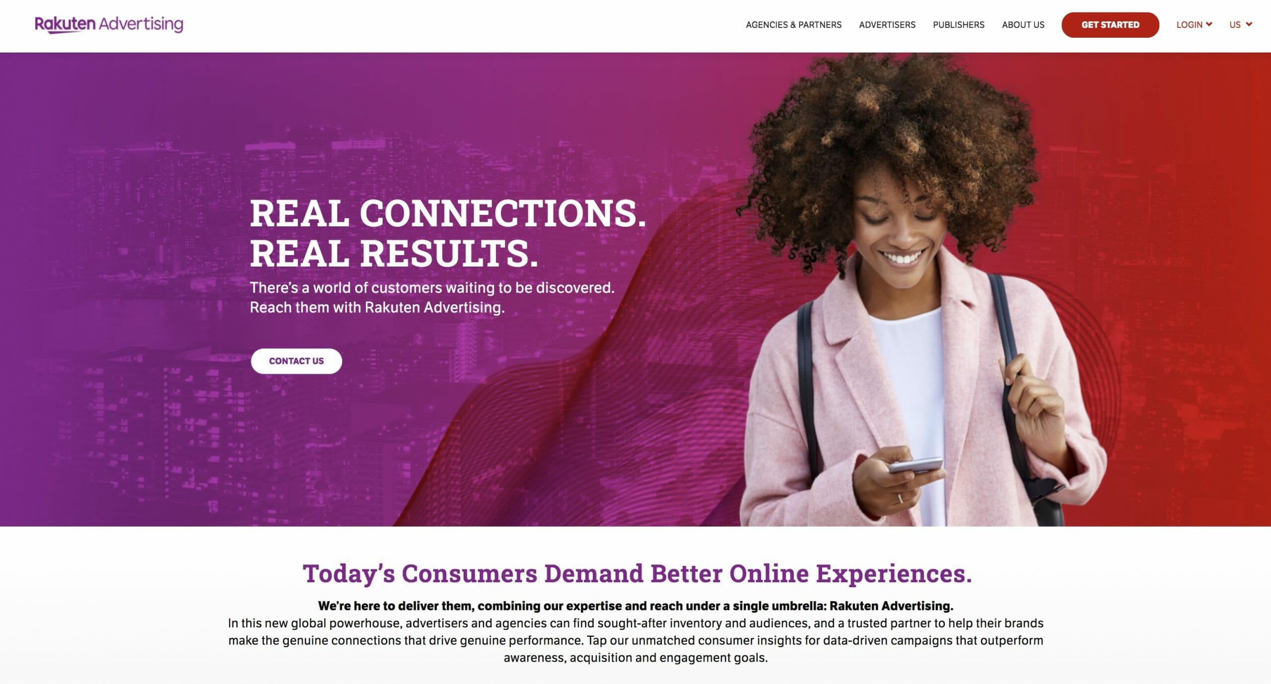 Rakuten Advertising Screenshot Homepage