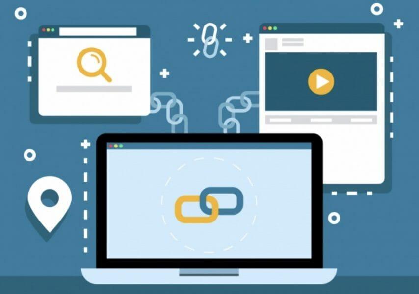 SEO Link building strategy illustratin laptop