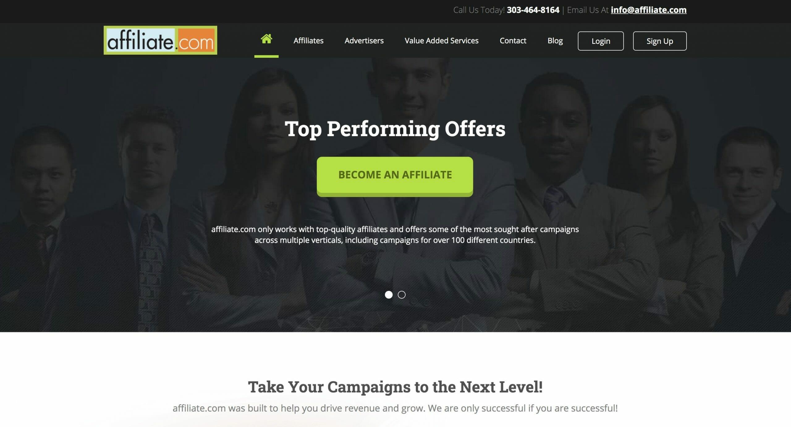 affiliate.com home page preview