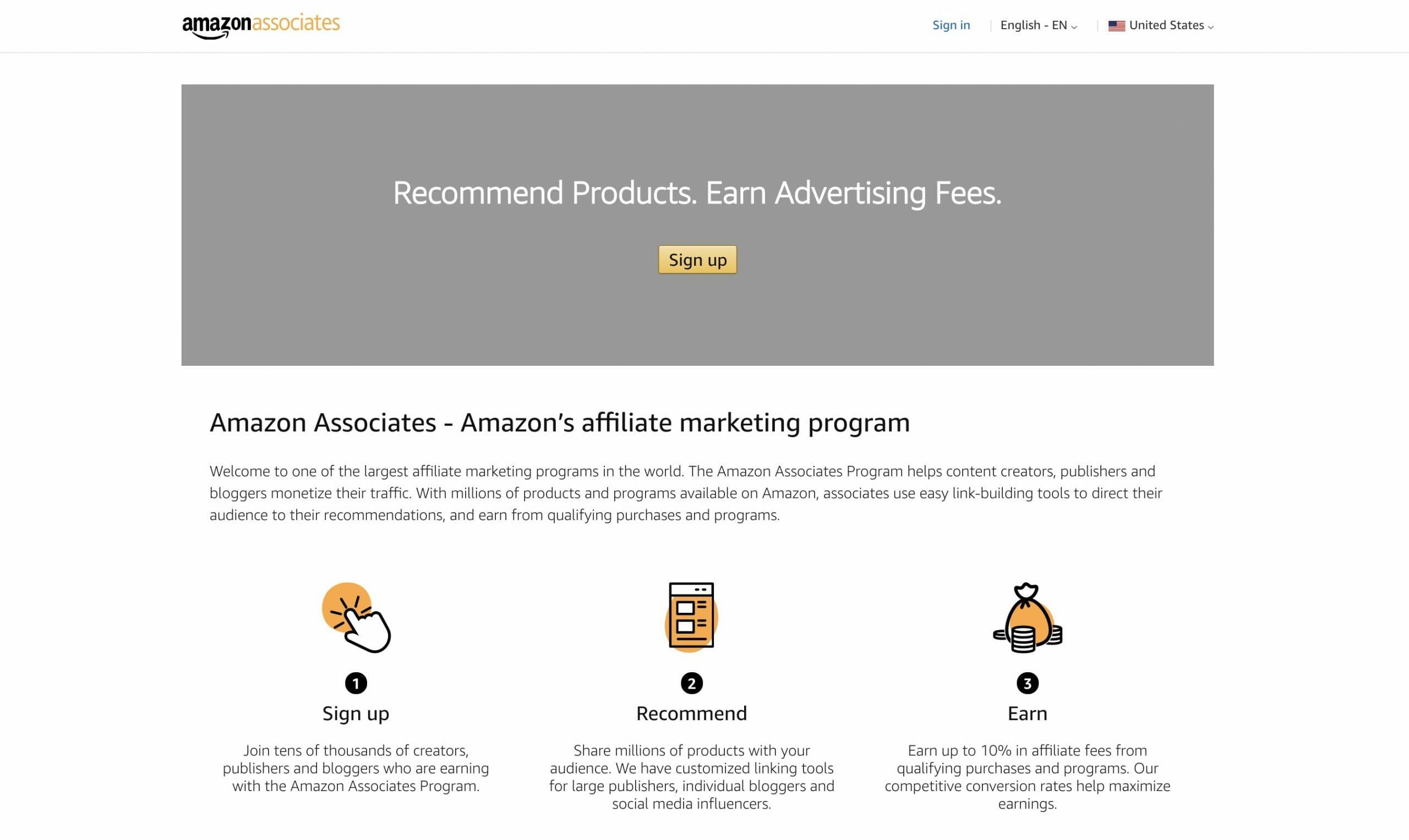 amazon associates landing page