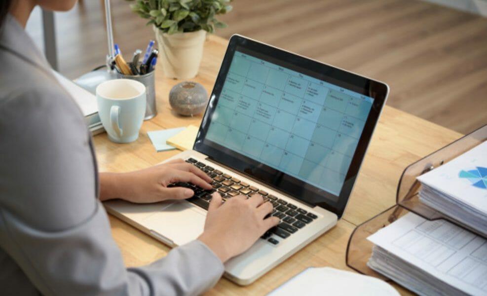 digital calendar on computer schedule