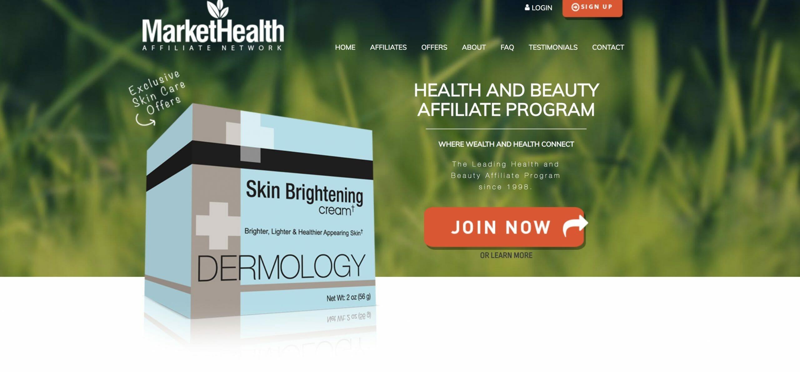 markethealth affiliate network home screenshot