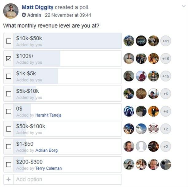 monthly revenue matt fb poll