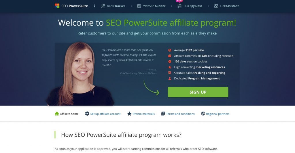SEO Powersuite Affiliate Page