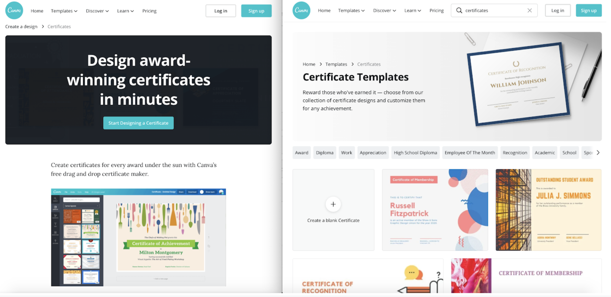 canva landing pages