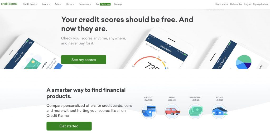 credit karma homepage screenshot