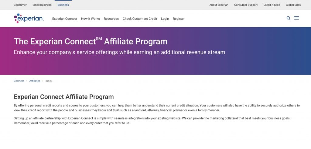 exprian affiliate program screenshot