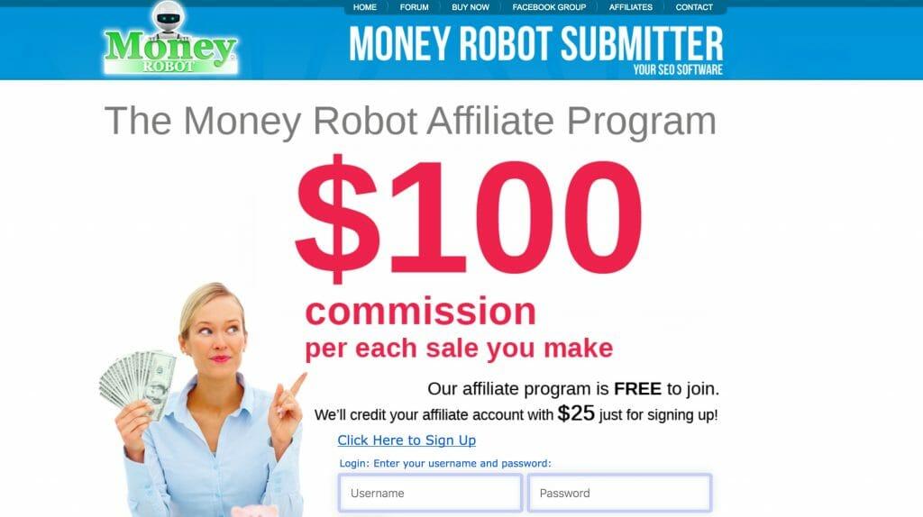 money robot affiliate program page