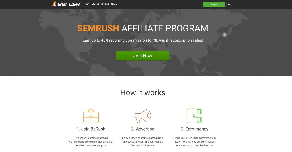 semrush affiliate program page