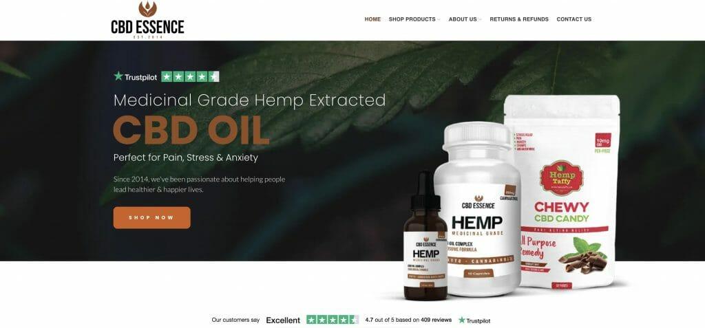 CBD Essence homepage