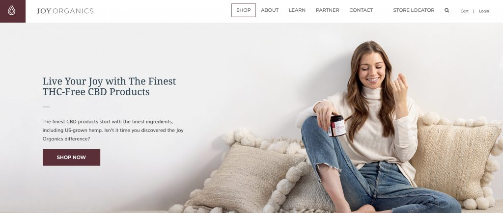 Joy Organics homepage