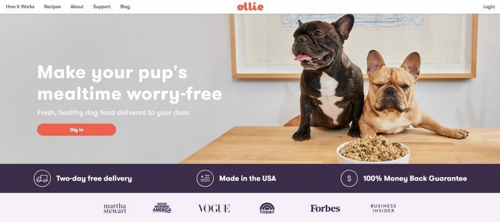 Ollie Affiliate Program Homepage