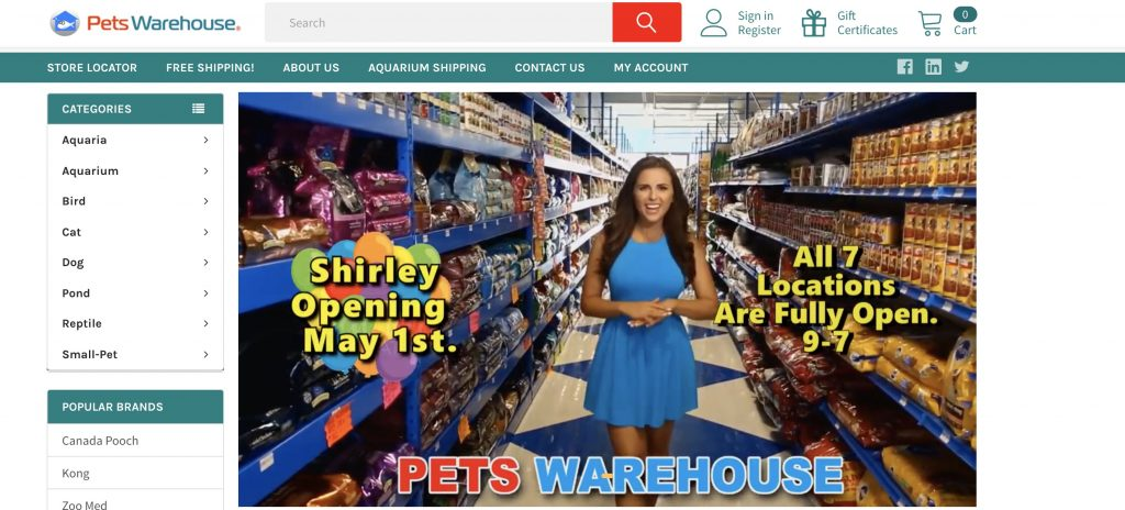 Pets Warehouse Affiliate Program Homepage