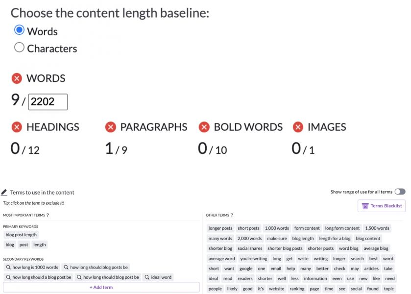 surfer seo content structure length sample
