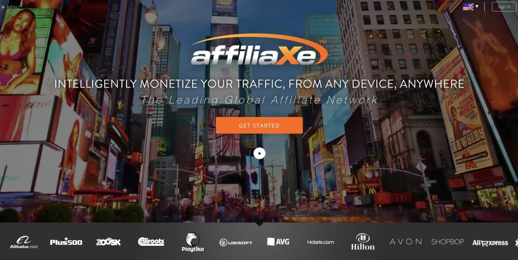 Affiliaxe Homepage Snapshot