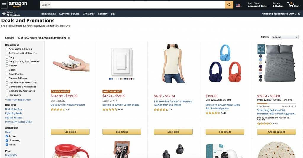 Amazon Homepage Snapshot