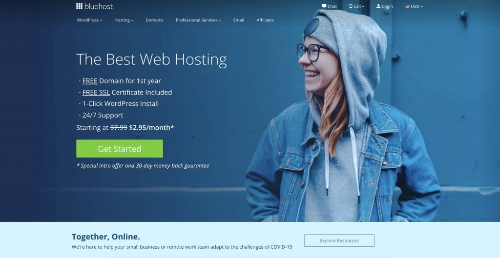 Bluehost Homepage Snapshot