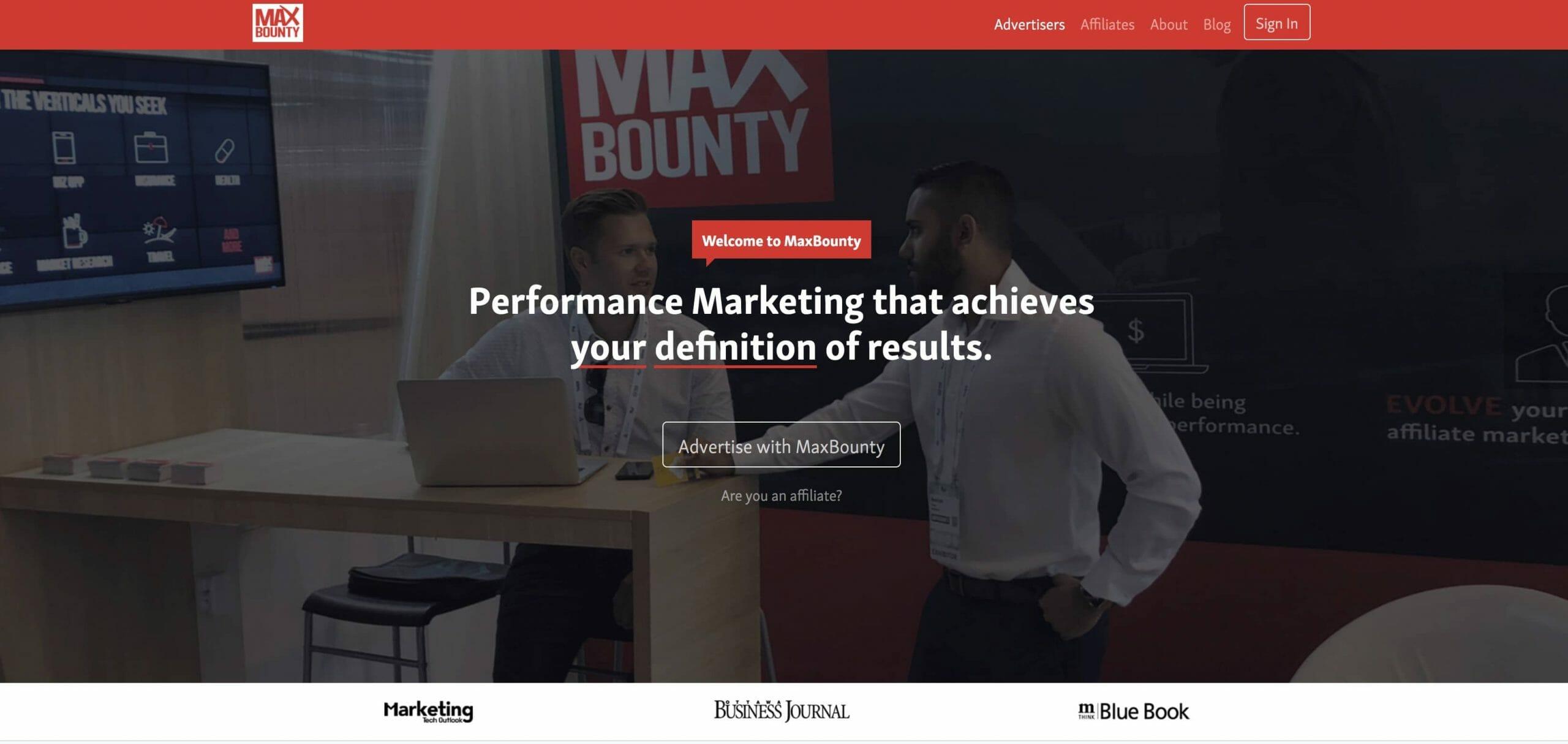 Maxbounty Homepage Snapshot