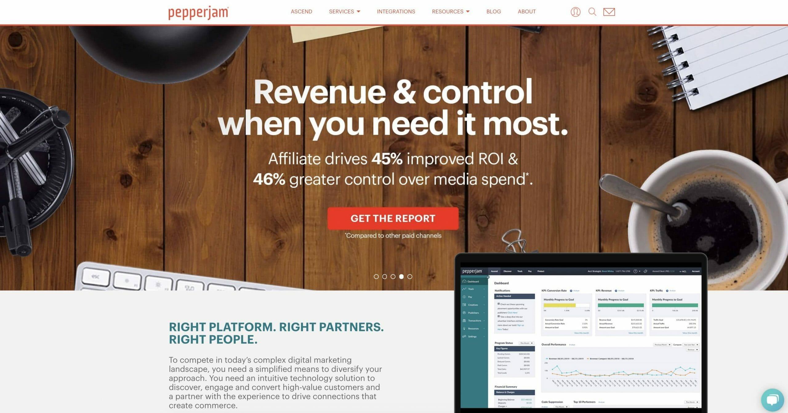 Pepperjam Homepage Snapshot