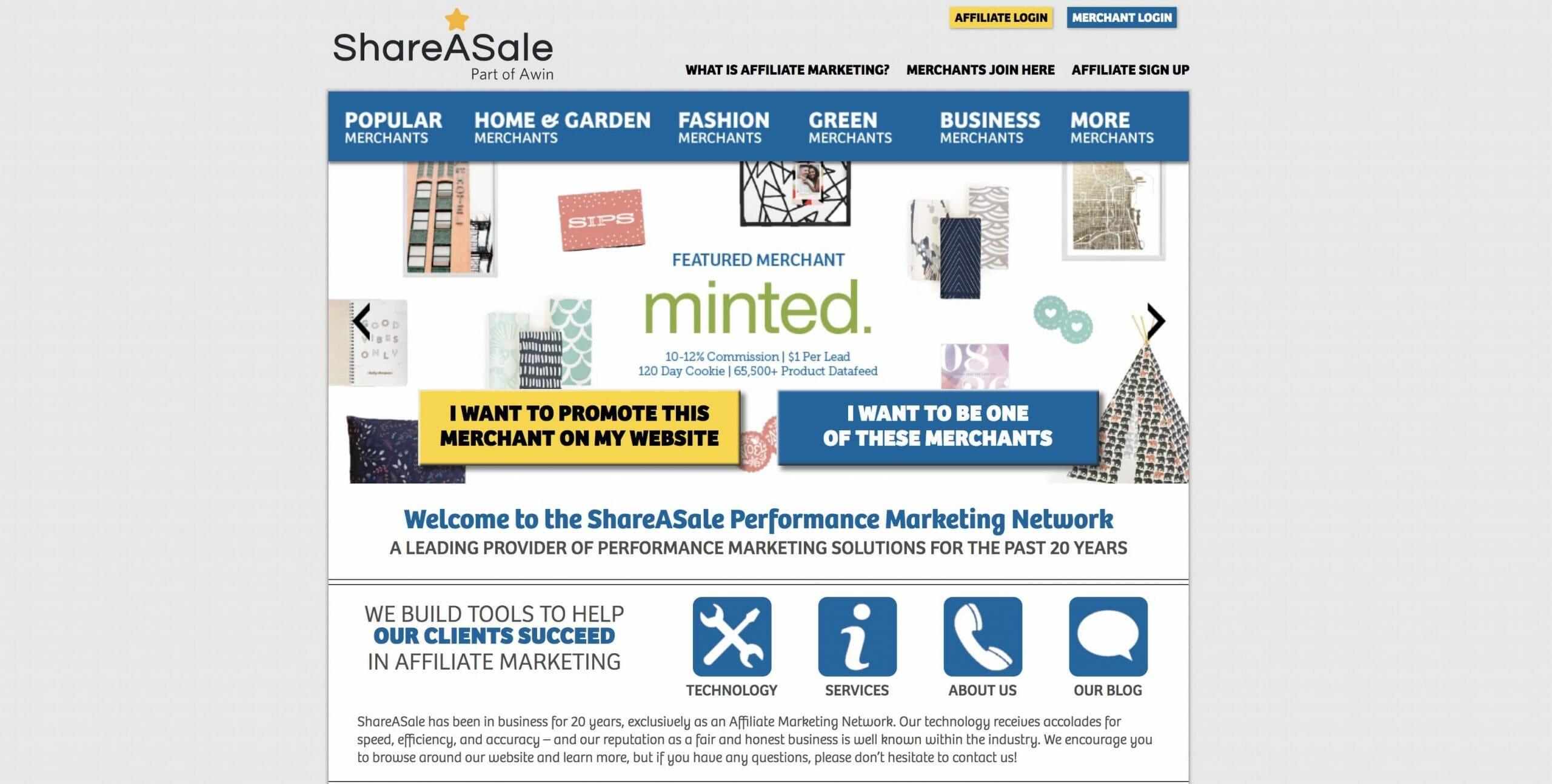 Shareasale Homepage Snapshot