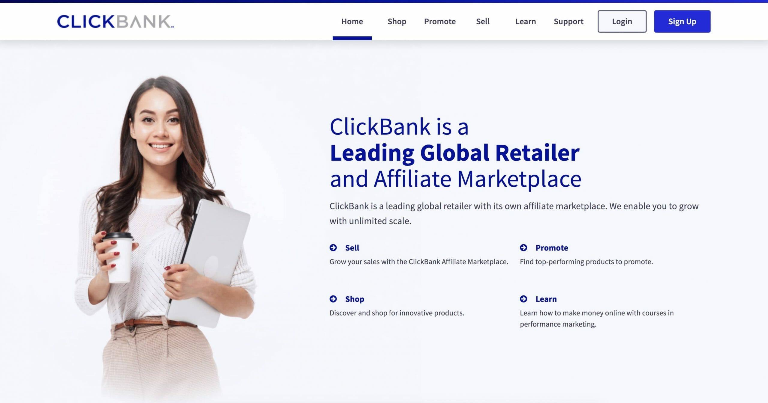 clickbank Homepage Snapshot
